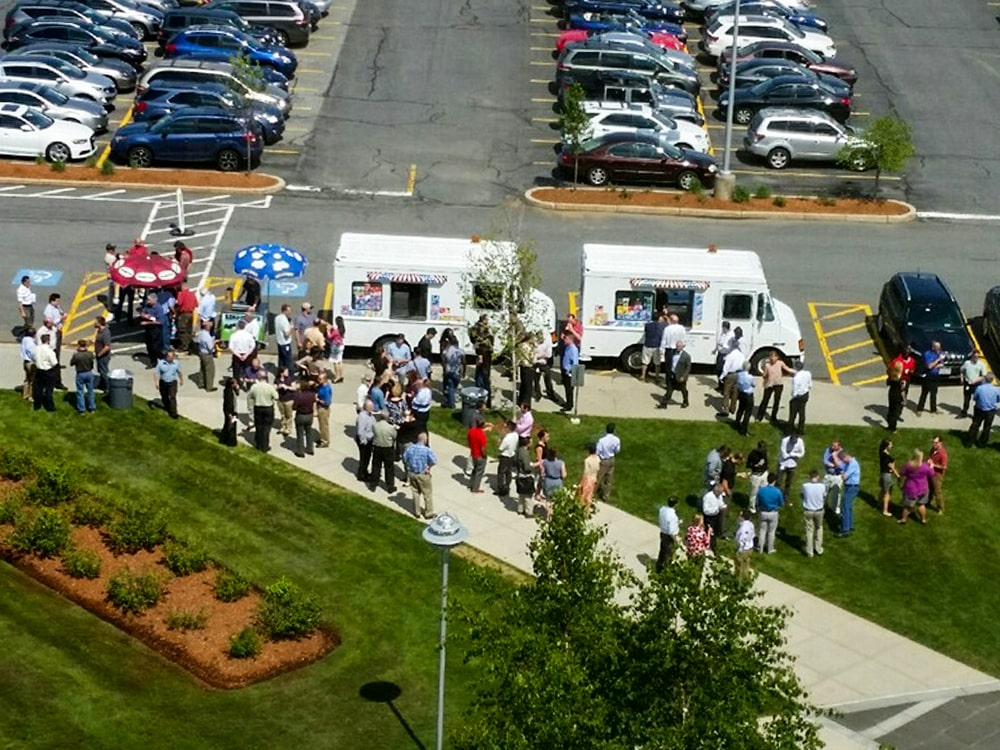 Aerial View Ice Cream Truck Crowd Park Parking Lot Area-min
