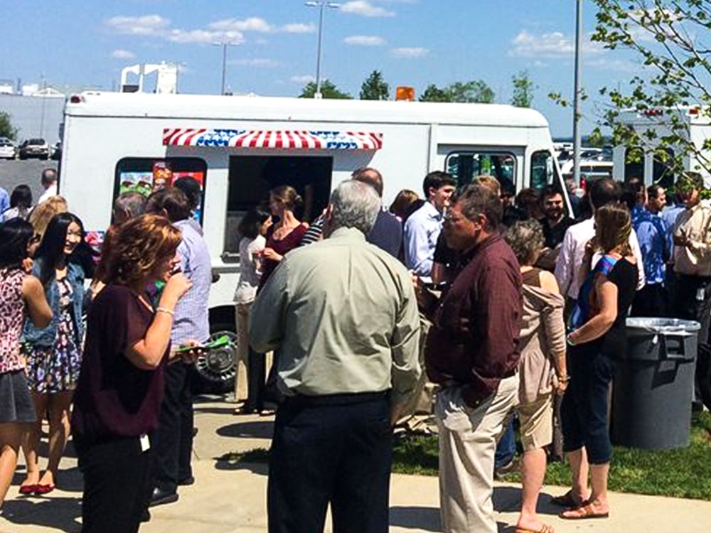 Large Crowd Ice Cream Truck Parking Lot 1-min