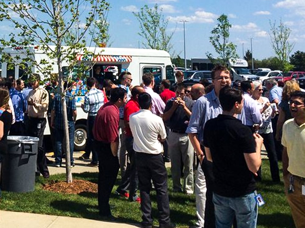Large Crowd Ice Cream Truck Parking Lot 2-min