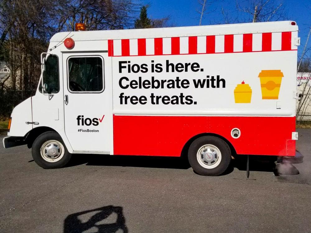 Verizon Fios Boston Branded Truck Free Treats Baked Goods Truck Lot-min